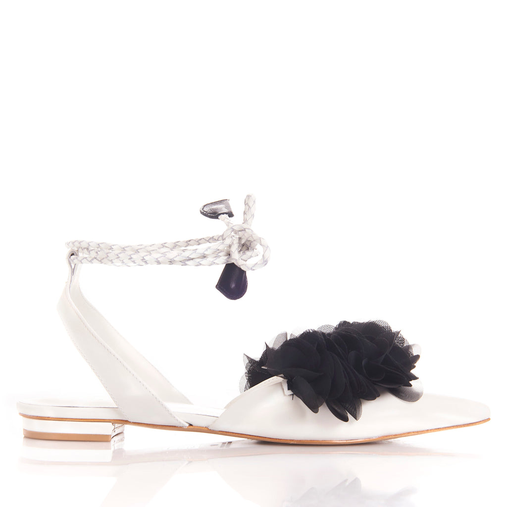 FRIDA WHITE BLACK  Leather handmade sandals