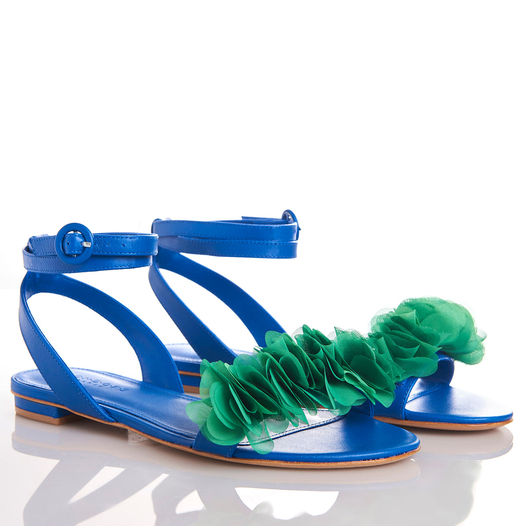 JAJA ROYAL BLUE Flat leather Frufru handmade Sandals