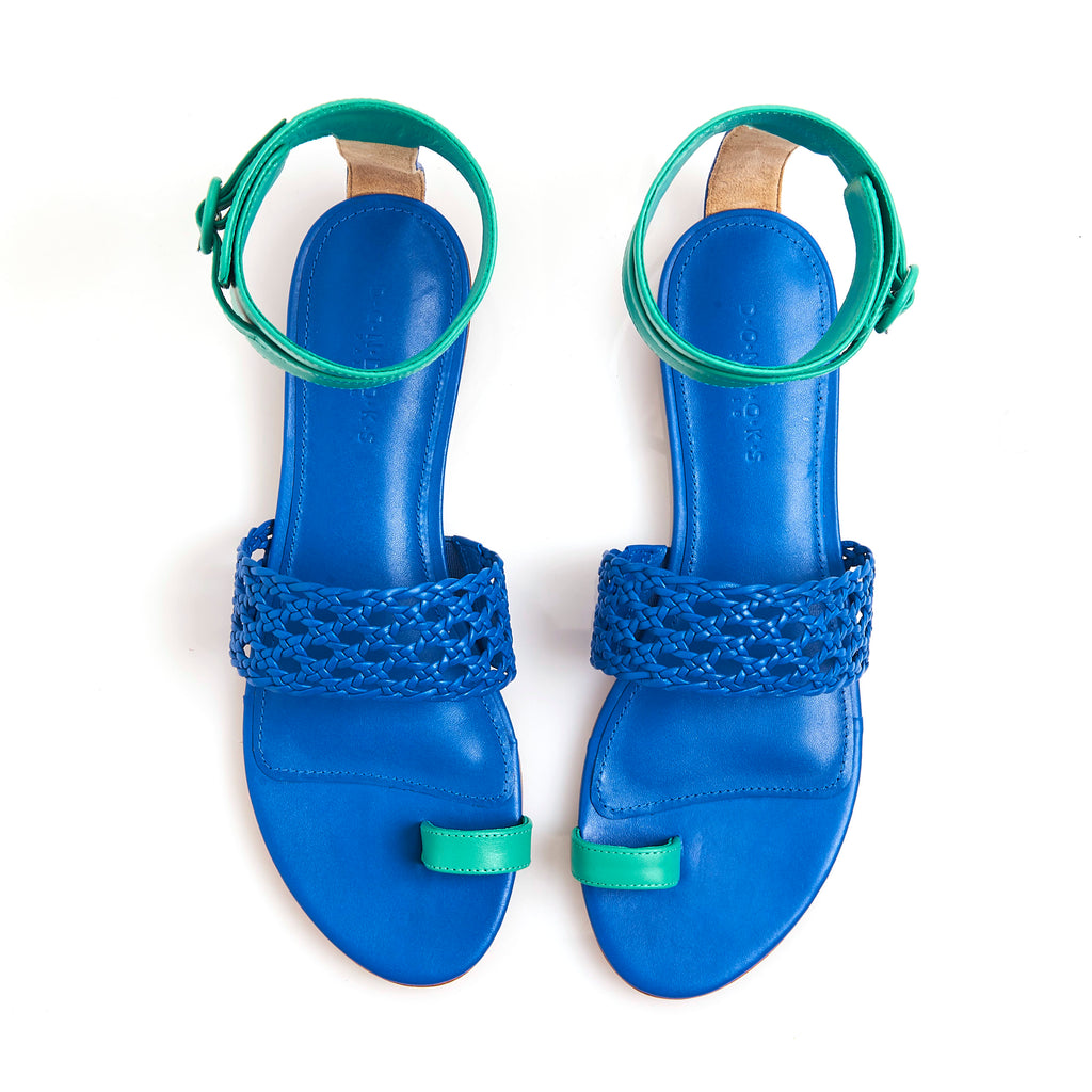 LETY ROYAL BLUE Leather hand-braided sandals