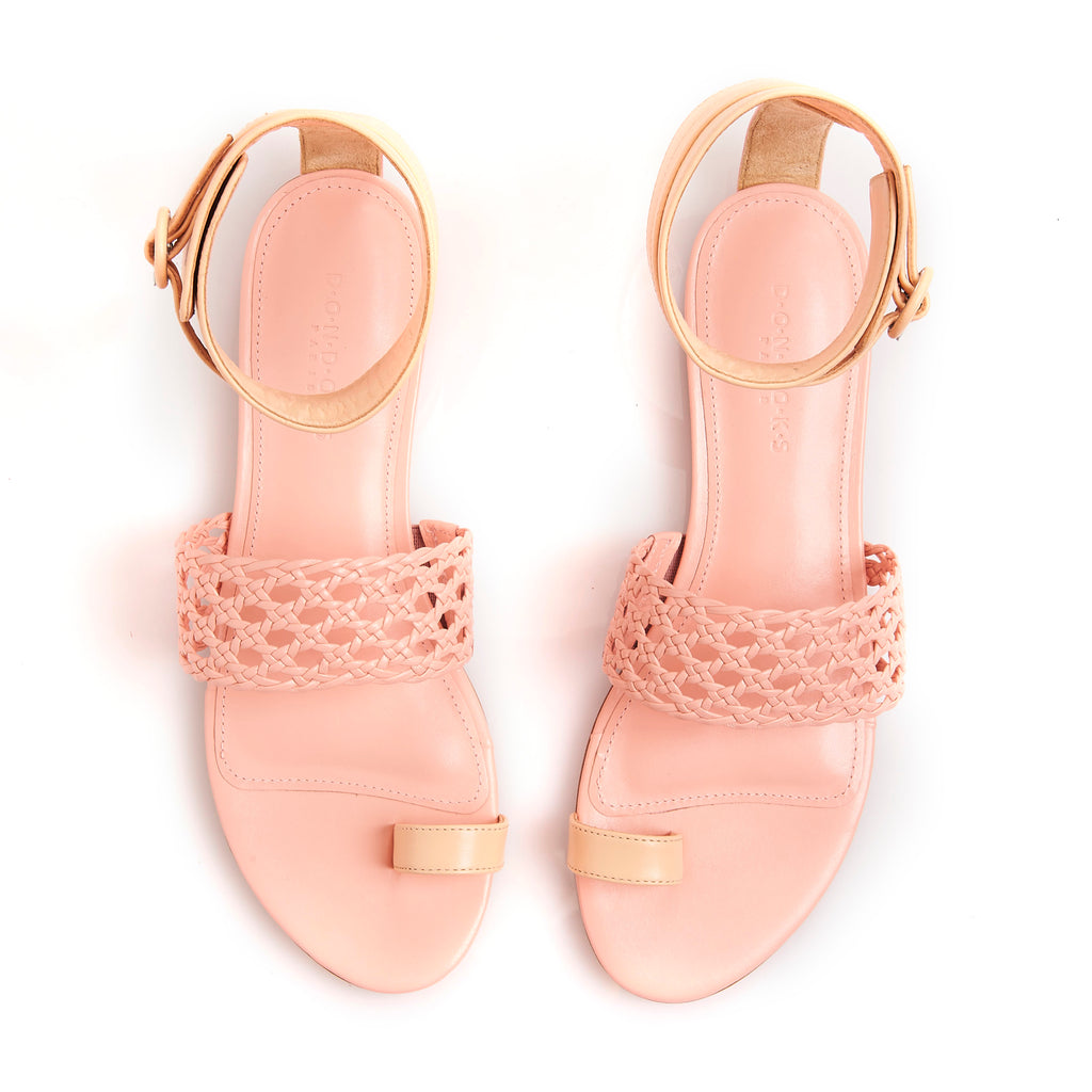 LETY NUDE Leather hand-braided sandals