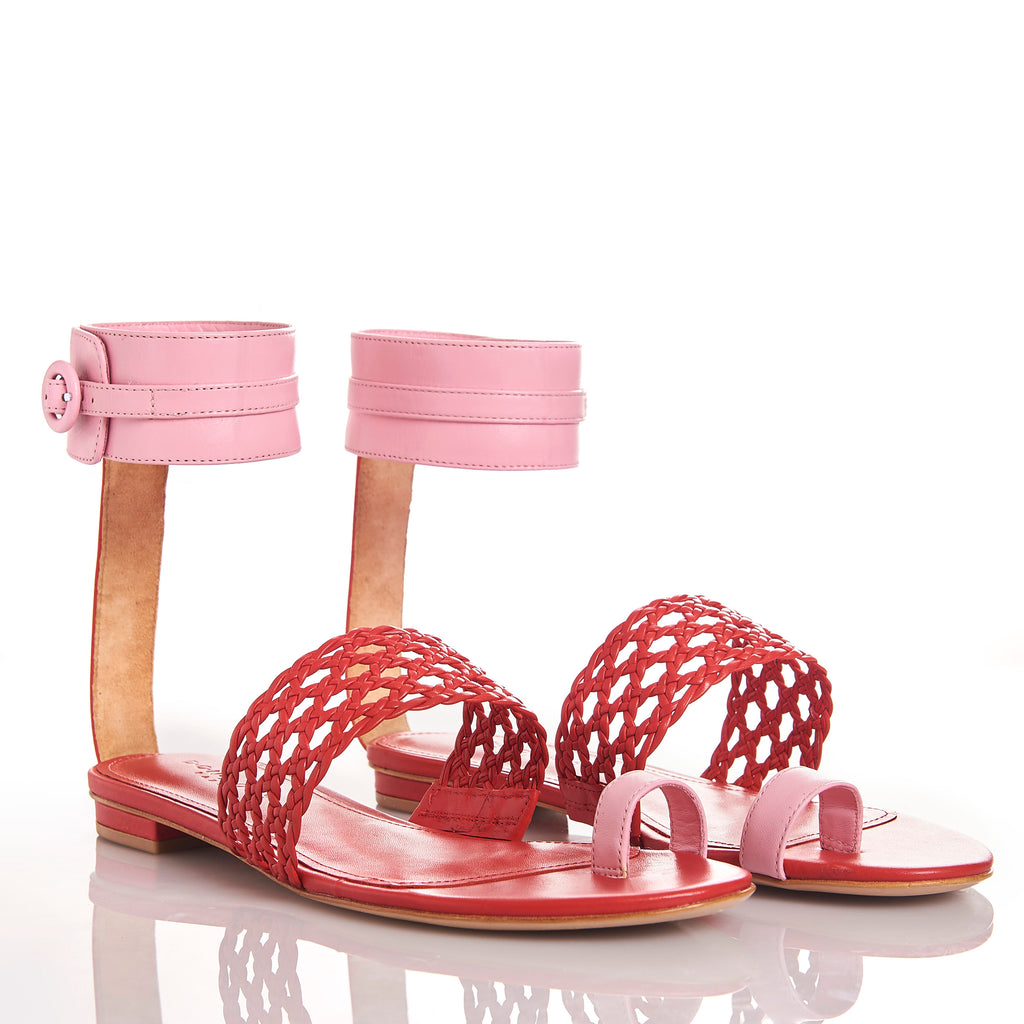 LETY RED FLAMINGO Leather hand-braided sandals