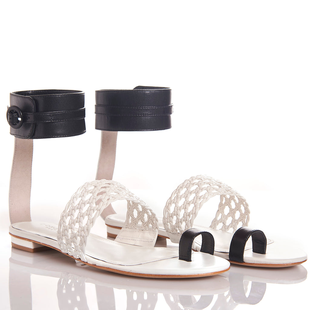 LETY WHITE BLACK Leather hand-braided sandals