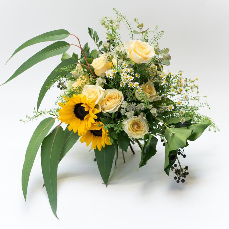 Sunflowers and white roses bouquet in a white background