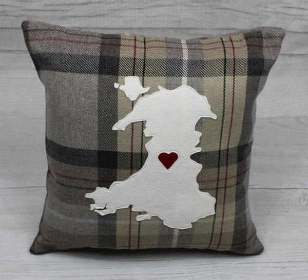 Tartan Map of Wales Cushion / Cymru Cushion