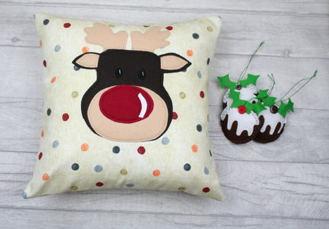 Christmas Cushion, Christmas Pillow, Xmas Cushion, Xmas Pillow, Reindeer Cushion, Spotty Cushion