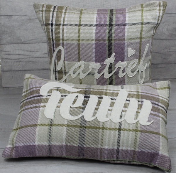 Tartan Cartref Cushion/ Home Cushion