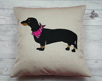 Dachshund Cushion / Sausage Dog Cushion (Black and Tan)