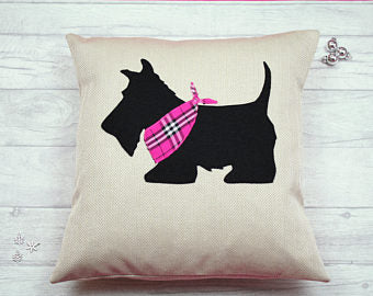 Scotty Dog Cushion - Pink Bandana