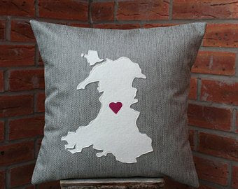 Map of Wales Cushion - Ruby Wedding Anniversary