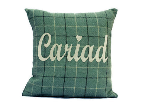 Tartan Cariad / Love Cushion