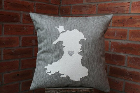 Map of Wales Cushion -Silver Wedding Anniversary