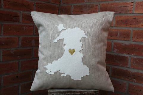 Map of Wales Cushion - Gold Wedding Anniversary