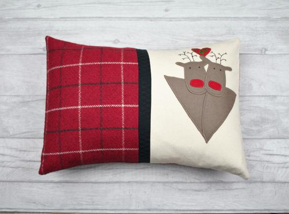 Christmas Cushion, Christmas Pillow, Reindeer Cushion, Tartan Cushion