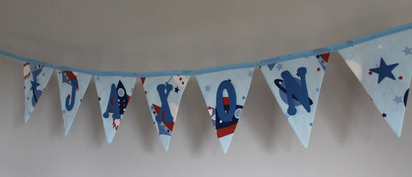 Personalised Bunting, Boys Name bunting, Personalized Bunting, Boys Name Bunting, Boys Name Pennant, Space Bunting, Rockets Bunting