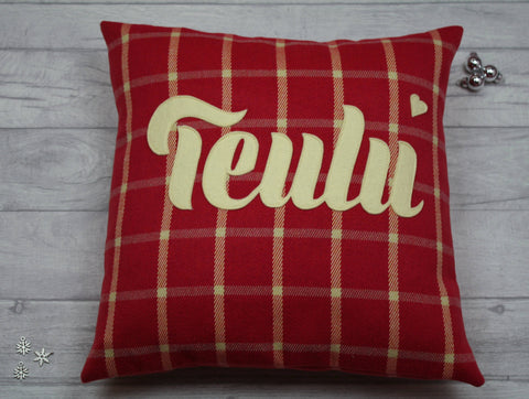 Teulu Cushion/ Handmade Welsh appliquéd teulu/family cushion/pillow