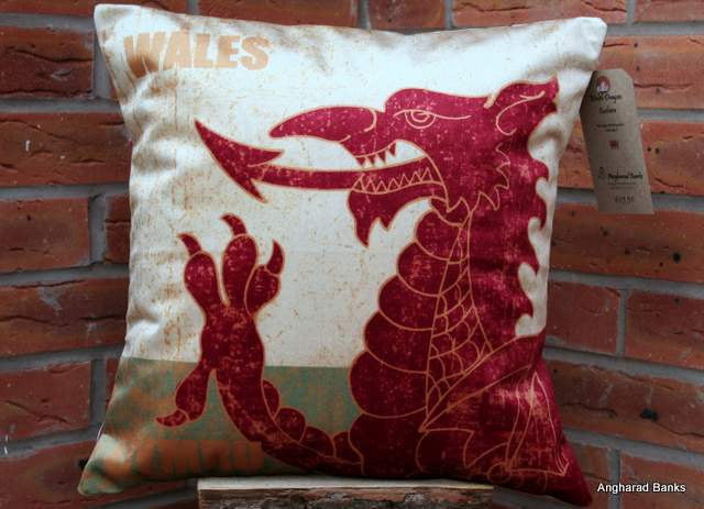 Welsh Dragon Cushion - Velour
