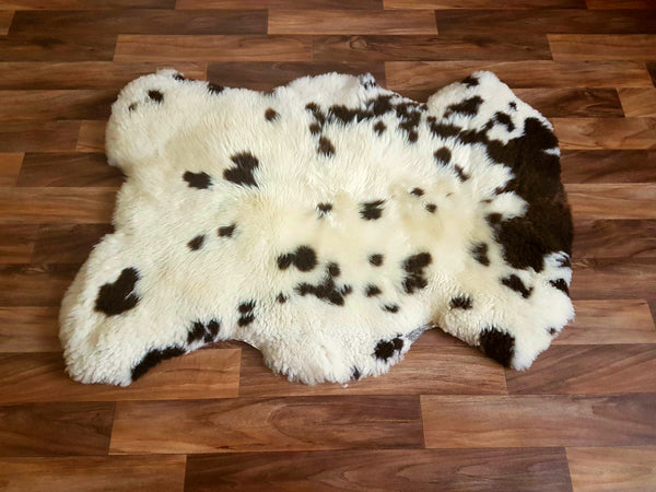 Ivory and Dark Chocolate Spotted Rug