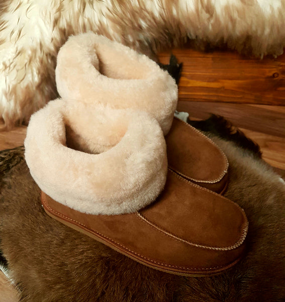 Boots-Style Slippers with Hard Sole-Tan