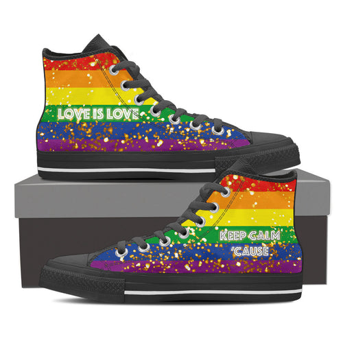 GAY PRIDE CANVAS GOLD SHOES HIGH TOP (WOMEN'S SIZES) BLACK/WHITE
