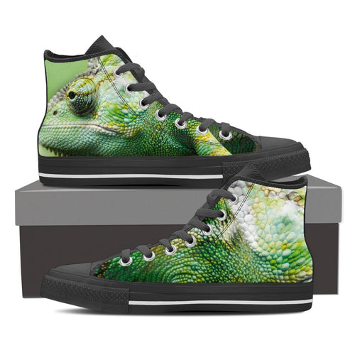 CHAMELEON SKIN Men's High Top Canvas Shoes Black/White