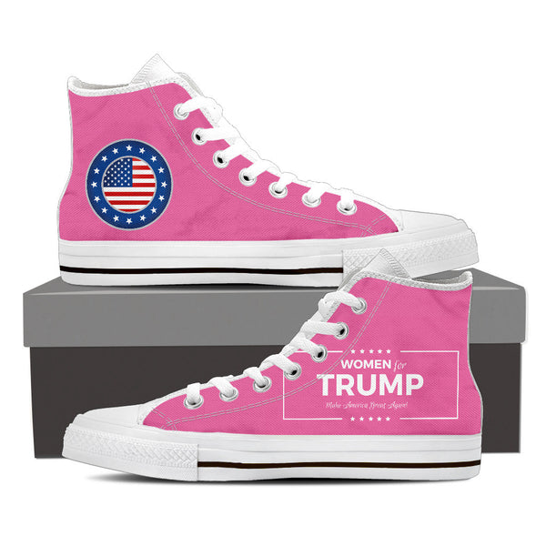 WOMEN FOR TRUMP High Top Canvas Shoes Black/White