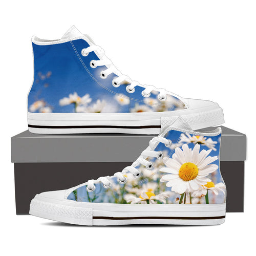 Flowers Women's High Top Canvas Shoes Black/White