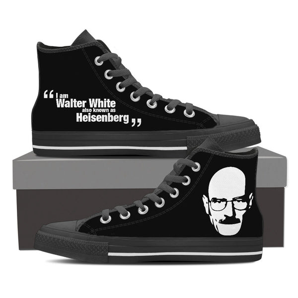 Breaking Bad Design Men's High Top Canvas Shoes Black/White