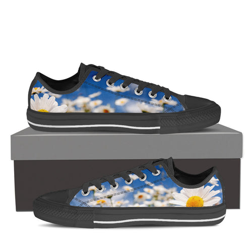 Flowers Men's Low Top Canvas Shoes Black/White