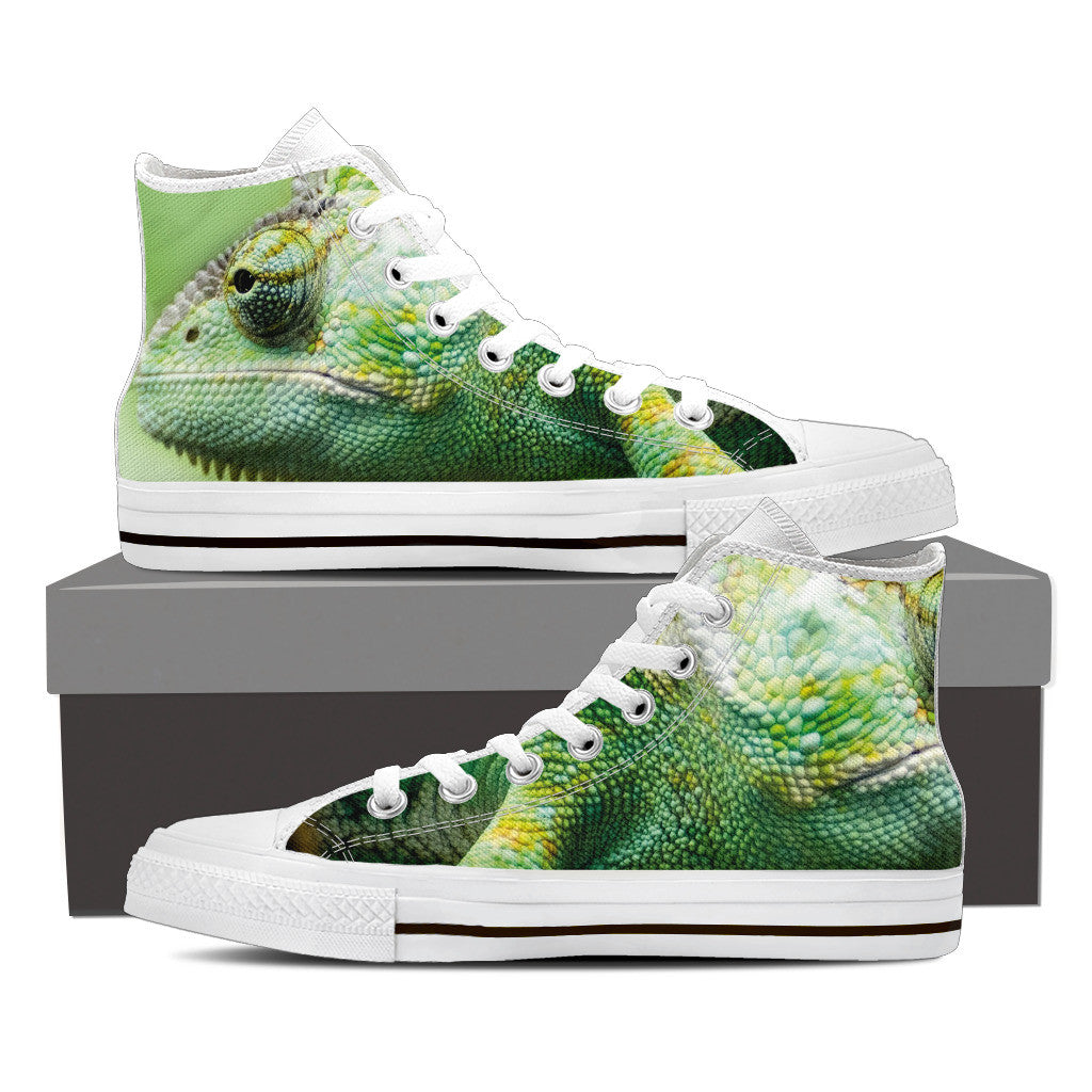 CHAMELEON SKIN Women's High Top Canvas Shoes Black/White