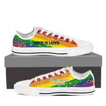 GAY PRIDE CANVAS GOLD SHOES LOW TOP (MEN'S SIZES) BLACK/WHITE