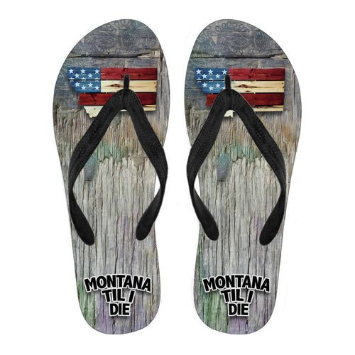 MONTANA TIL I DIE Womens Wood Lines Canvas Print Flip Flops Black/White