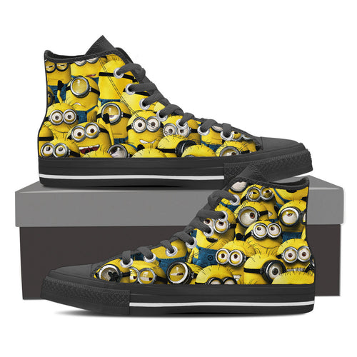 MINIONS Women's High Top Canvas Shoes Black/White