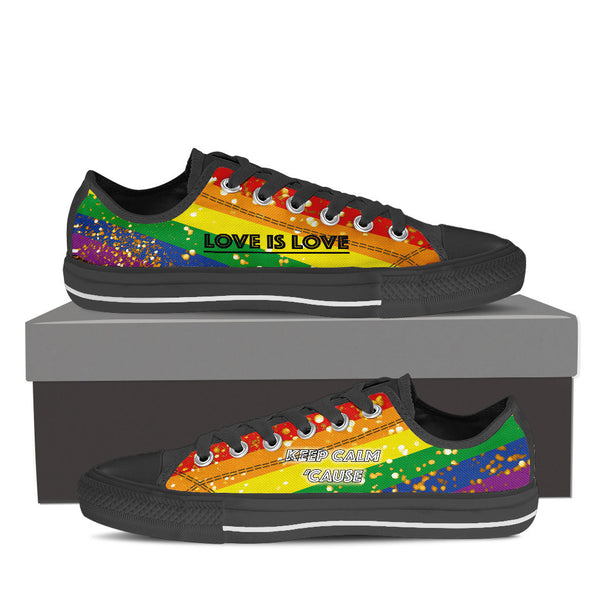 GAY PRIDE CANVAS GOLD SHOES LOW TOP (WOMEN'S SIZES) BLACK/WHITE