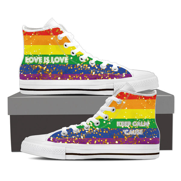 GAY PRIDE CANVAS GOLD SHOES HIGH TOP (MEN'S SIZES) BLACK/WHITE