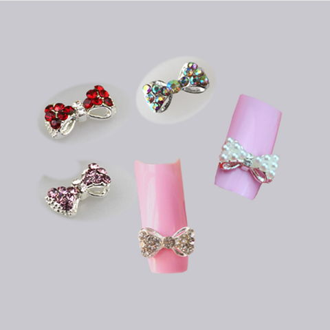 3d Faux Pearl Bow Tie Nail Art Decoration Barleyrock