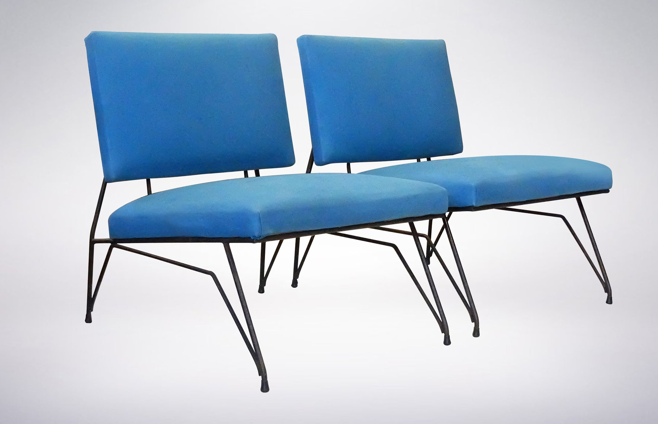 Elegant Pair Of Modernist Armchairs, In Lush Blue Upholstery