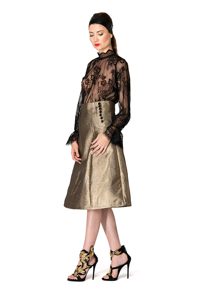 metallic rustic gold skirt