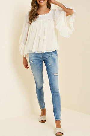 Sheer Ruffle Bell Sleeve Blouse