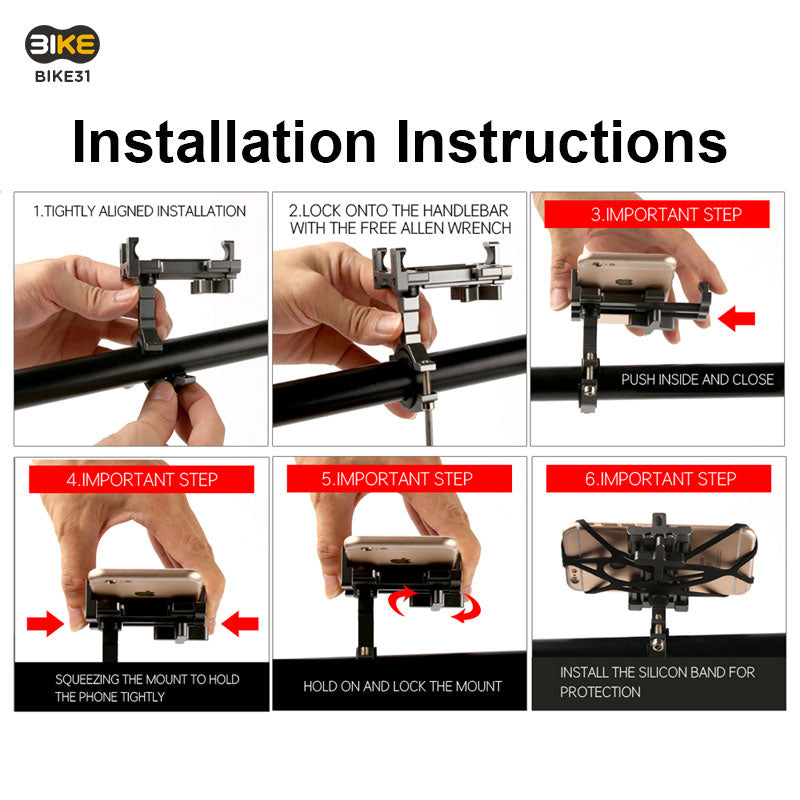 Bike31 360 Rotatable Phone Mount Installation Instructions