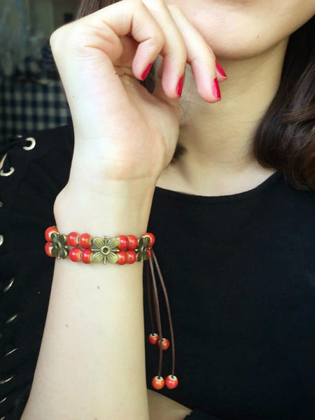 Fruits rouges - bracelet ajustable en céramiques rouges