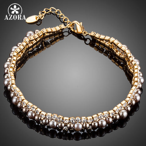 Gold Plated 2 Rows Micro CZ Stones With Beads Bracelet