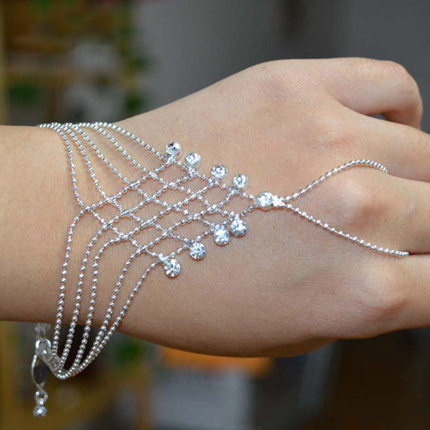Silver Plated Crystal Rhinestones Bride Beaded Hand Chain To Finger Bracelet