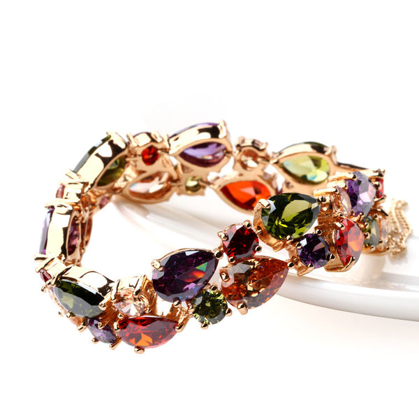 Sexy Rose Gold Plated Mona Lisa Multicolor CZ Stones Bracelet