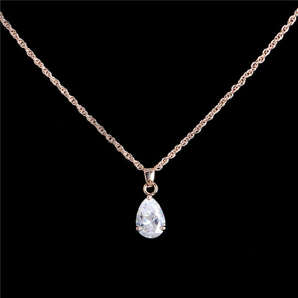 Gold filled White Oval Cut Crystal CZ Charming Pendant Necklace