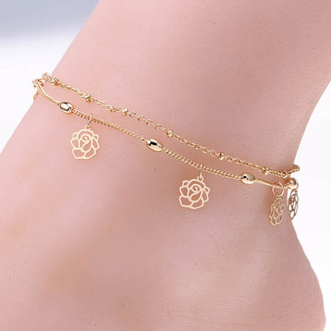 Double Rows  Hollow Flower Beach Anklet Ankle Bracelet