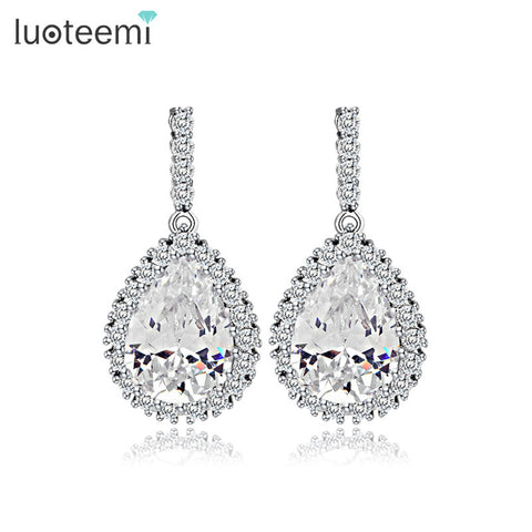 CZ Large Water Drop with Tiny CZ Trim Rhodium Plated Earrings