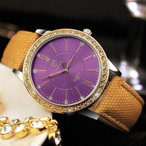 Luxury Gold Plated CZ Diamond Bezel Purple Face Yellow Leather Band Quartz Dress Watch