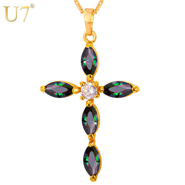 Luxury Gold Plated Cubic Zirconia Cross Pendant Necklace