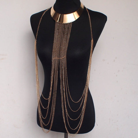 Alloy Collar Necklaces Pendants Long Tassel Body Chain