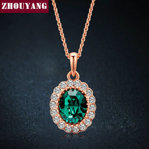 Elegant Emerald Green Crystal Gold Plated Pendant Necklace